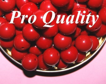 Vintage 24 Cherry Red   11 MM Lucite Beads  FL5