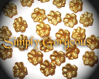 Vintage 12 Absolutely Gorgeous Metallc Gold 17MM Flower Beads  H2L
