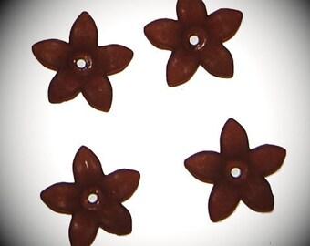 Vintage 24 Rootbeer 17MM Acrylic Flower Beads J4R