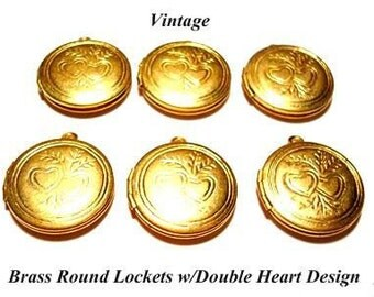 Vintage 2 Round Lockets with Double Heart Design AL5