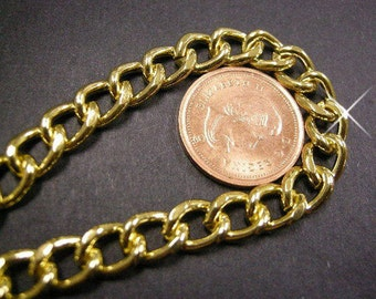 Vintage 3 Feet Fancy Gold Plated Large Link 9x7mm Chain AM2