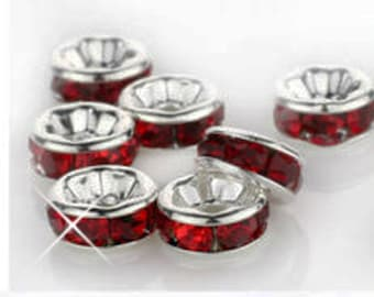 Vintage Lot of 10 Silver Plated Rich Ruby Red Colored Crystal 9mm Spacer Beads GR8