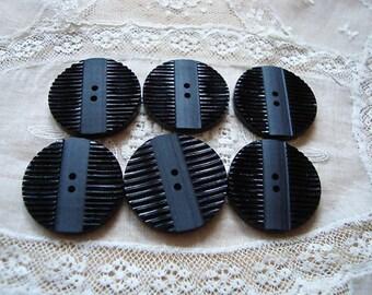 Vintage 2 Black Art Deco Ridged Buttons 27mm KL5