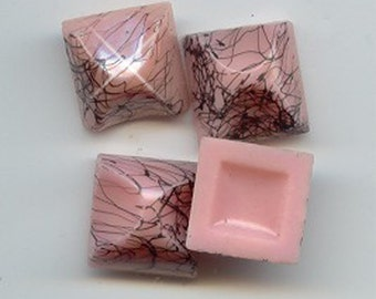 Vintage 6 ZPieces Art Deco Black Drizzled Pink Square Glass Cabochons AR3