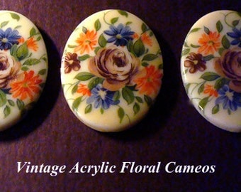 Vintage 1 Victorian Floral Design Painted 30x40mm Cameo AR6