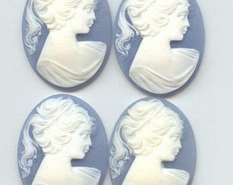 Vintage Two Acrylic Victorian  Wedgewood Blue Cameo 30x40mm AL2