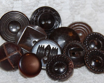 Vintage 12 Dark Chocolate Brown Fancy Art Deco Buttons M1L