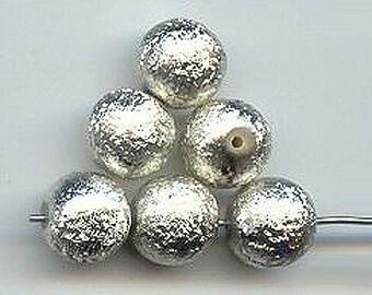 Vintage 12 Silver Texturized Acrylic Beads AL5
