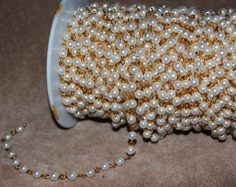 Vintage 4 Feet Brass with 6mm Acrylic Pearl Beaded Chain GL7