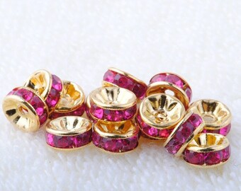 Vintage 10 Gold Plated Fuschia Crystal 8mm Spacer Beads GR8