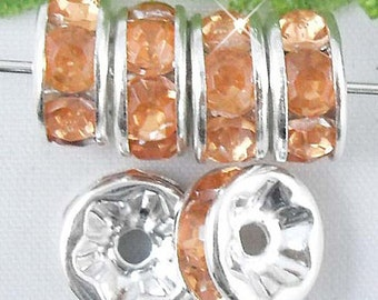 Vintage 10 Silver Plated  Orange Crystal Spacer 8mm Beads GR8