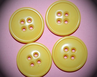 Vintage 4 Bright Yellow 4 Holer 23mm Buttons N1R