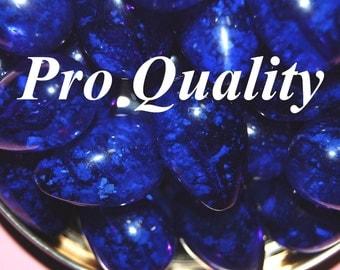 Vintage 10 Royal Blue ConfettiTeardrop Shaped Beads 23X16MM    FL4