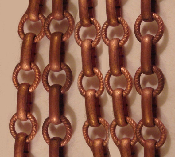 Vintage 3 Feet Gorgeous Copper Coated Twisted Wire Ring and Flat Connector Chain M1L