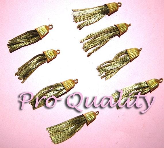 Vintage Lot of 4 All Brass 1.5 INCH Long Tassels CL3