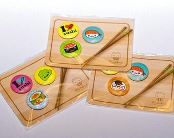 "Mustache Sushi Buttons Set Sushi Pins 1"" pins"