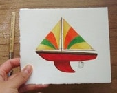 Sailboat Drawing Ruby Red Sharkfin Style Body