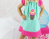 H A P P Y Ice Cream Cone...Peasant Dress Embroider Party Dress