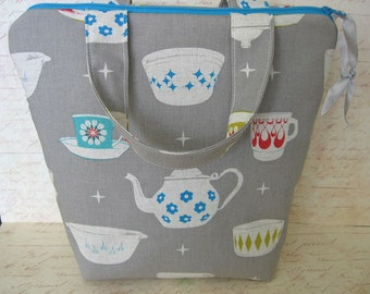 Tea time lunch bag, lunch tote canvas grey, Kokka fabric large size  perfect for a teachers  insulated tote