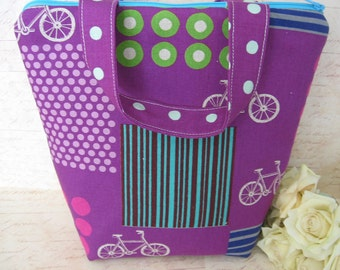 Purple Insulated Lunch Bag / Bicycle / lunch Tote / College back to school / lunch bag