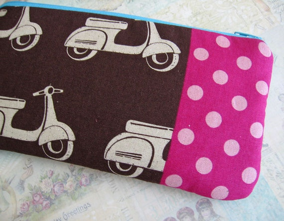 Retro Brown Scooter pencil bag Japanese fabric /  handmade by Needfulwishes/ zipper pouch