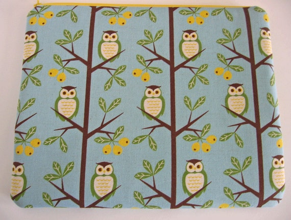 owl / iPad Sleeve / Japanese fabric  / iPad Case / ipad cover blue