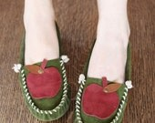 Green and Red Apple Moccasin - Women's sizes 5-11