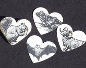 vintage craft supplies- black and white animal hearts