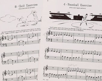 vintage sheet music- 1940s illustrated sheet music sports pages