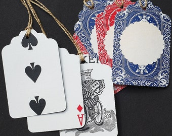 recycled gift tags- red and blue playing cards