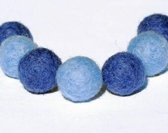Blue Felt Beads- set of handmade wool felted beads, felt balls, round beads
