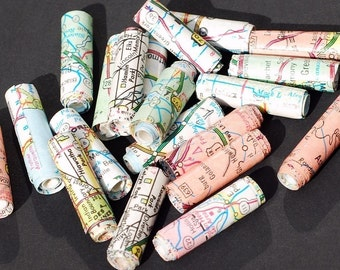recycled paper beads- vintage United States road atlas map beads