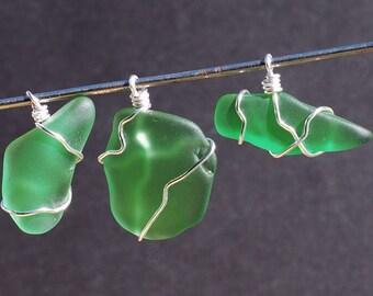 sea glass pendants- silver & green beach glass pendants, beach jewelry, bottle green sea glass jewelry, wire wrapped ocean jewelry