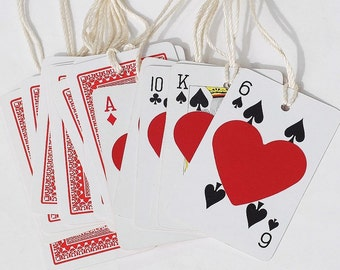 Playing Card Tags- recycled gift tags, miniature playing cards, red heart gift tags, Valentine tags, poker tags, Alice in Wonderland party