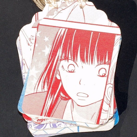 Comic Book Tags- Japanese comic book gift tags, manga gift tags, recycled gift tags