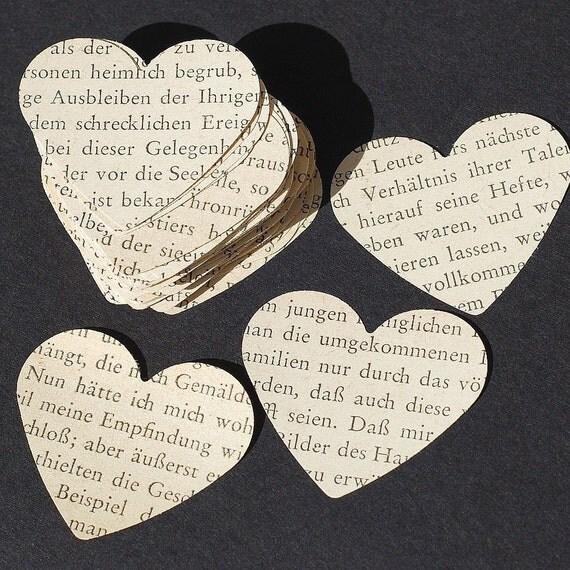 German paper hearts- 100 foreign language vintage craft supplies