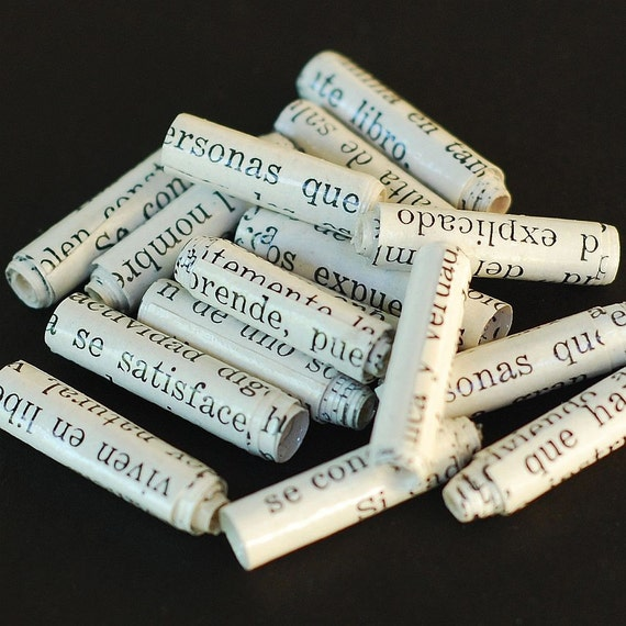 Spanish Paper Beads- recycled paper beads, rolled paper beads, Spanish beads, handmade beads, word beads, upcycled book paper beads