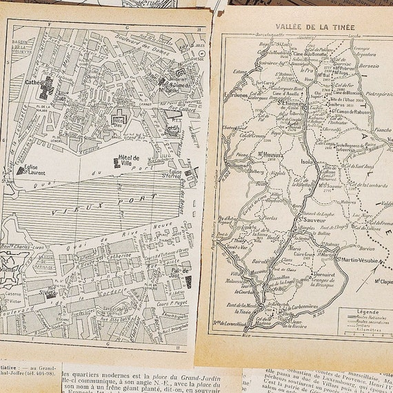 vintage French map Provence Cote d'Azure 1950 guide book pages