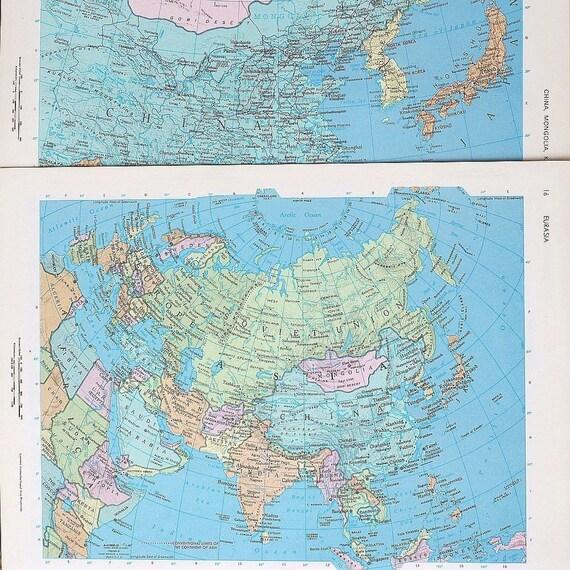 vintage maps- Asia map atlas pages