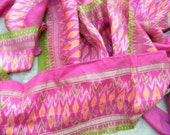 second-hand silk sari sections- Special pink