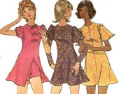 1970s Tween Dress and Shorts Vintage Sewing Pattern - 28 Bust Sewing Pattern -  Butterick 6513