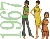 1960s Dress, Top, Bell Bottom Pants Vintage Sewing Pattern - 36 Bust - Simplicity 7021