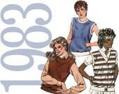 80s Top Vintage Pattern - XS, S, M, L - Kwik Sew 1315 - Uncut, Factory Folds