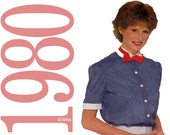 80s Shirt and Bowtie Vintage Pattern - B30, B31 - Simplicity 9842 - Uncut, Factory Folds
