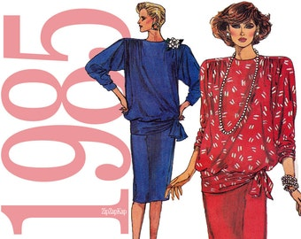 80s Blouson Top, Skirt Vintage Pattern - B31, B32, B34 -Vogue 9314 - Uncut, Factory folds - Instructions in English and French