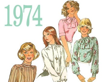 70s Secretary Blouse Vintage Sewing Pattern - Simplicity 6625 - 32 Inch Bust - UNCUT