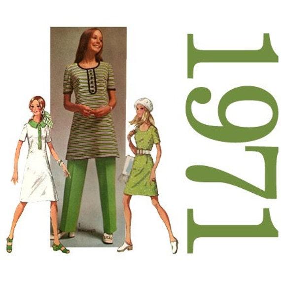 1970s Mini Dress Pants Vintage Pattern 40 Inch Bust Simplicity 9285