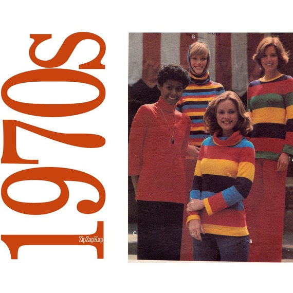 70s Tops Vintage Sewing Pattern - Stretch Top Pattern - 32 Bust - Butterick 5023 - T Shirt Pattern