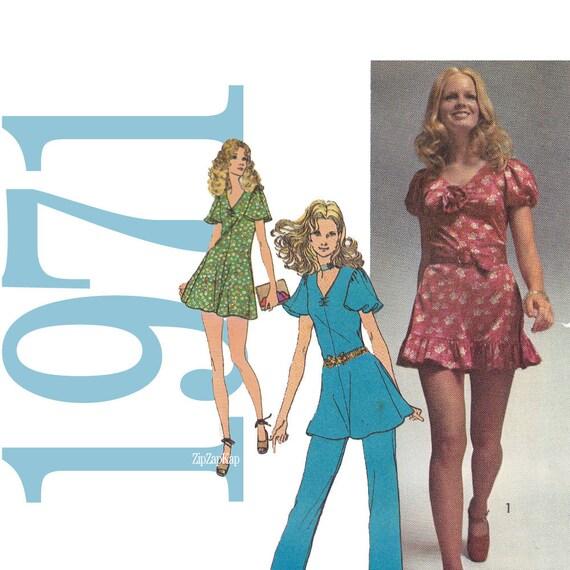 70s Mini Dress Bloomers Vintage Pattern 32 Bust  Simplicity 9714 UNCUT FF NOS