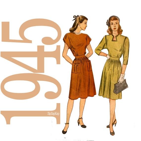 40s Keyhole Dress Vintage Pattern - B 34 - Simplicity 1482